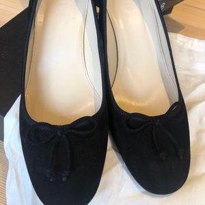 J crew black suede block heel pump size US8